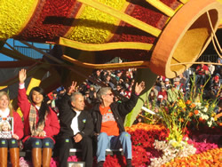 Dr. Shih, second from left, riding on the Donate Life float, which won the trophy for best theme