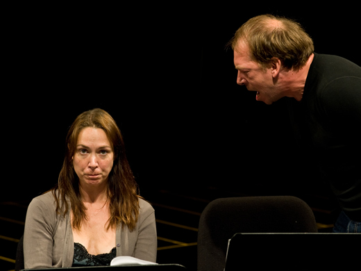 Actors Elizabeth Marvel and Bill Camp in Theater of War (Credit: Howard Korn)